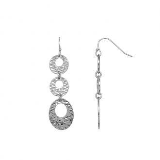 Boucles d'oreilles Carador pendantes crénelées Argent 925/000
