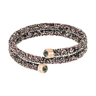 Bracelet jonc Swarovski Crystaldust double multicolore et doré rose 5348102