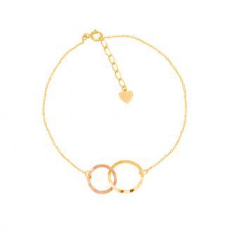 Bracelet Carador Femme Or jaune et rose 375/000e anneaux