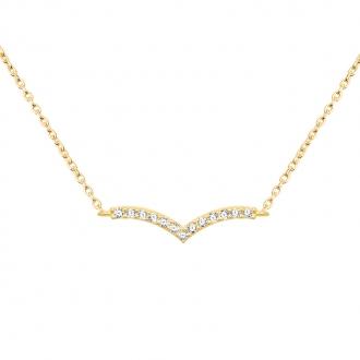 Collier CARADOR Femme Or jaune 375/000e pavage zircons