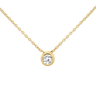 Collier CARADOR Or jaune 375/000e solitaire