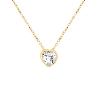 Collier CARADOR Or jaune 375/000e solitaire coeur