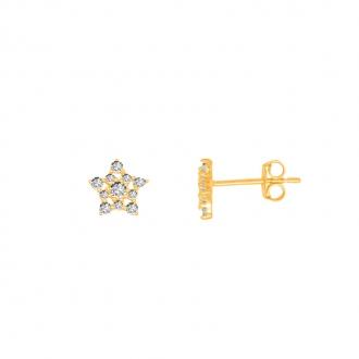 Boucles d'oreilles femme Carador or jaune 375/000 étoiles