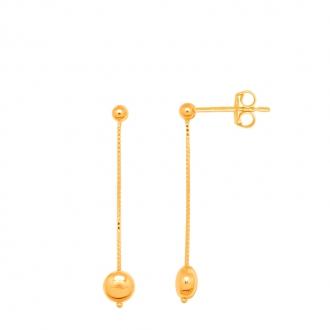 Boucles d'oreilles femme Carador or jaune 375/000 pendule