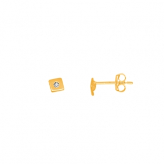 Boucles d'oreilles femme Carador or jaune 375/000 carré