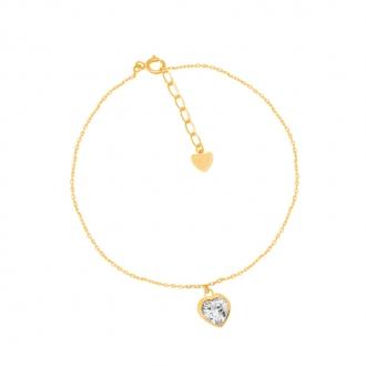Bracelet CARADOR Or jaune 375/000e solitaire coeur