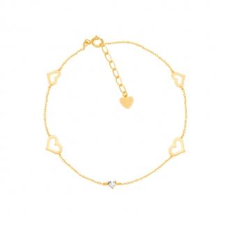 Bracelet CARADOR Or jaune 375/000e farandole de coeurs