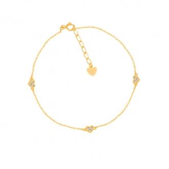 Bracelet CARADOR Or jaune 375/000e trio de petits coeurs