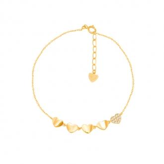 Bracelet CARADOR farandoles de coeurs Or jaune 375/000e et oxydes de zirconium
