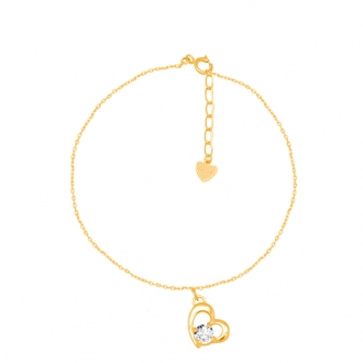 Bracelet CARADOR coeur Or jaune 375/000e et oxyde de zirconium
