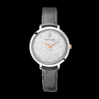 """Montre Pierre Lannier """"La Petite Cristal"""" cuir gris 107J609"""
