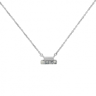 Collier Femme Silver Pop rectangles argent 925/000 et Howlite