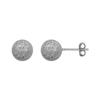 Boucles d'oreilles Carador boule glitter 9 mm en argent 925/000