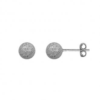 Boucles d'oreilles Carador boule glitter 7 mm en argent 925/000