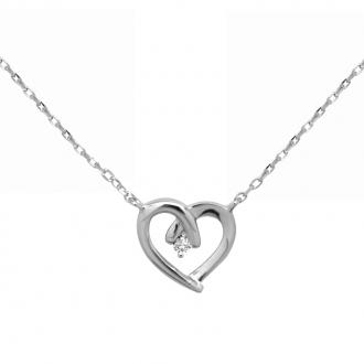 Collier femme CARADOR coeur argent 925/000 et oxyde de zirconium