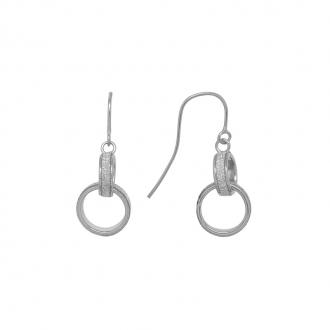 Boucles d'oreilles pendantes Carador anneaux enlacés or blanc 375/000 et glitter