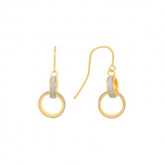 Boucles d'oreilles pendantes Carador anneaux enlacés or jaune 375/000 et glitter