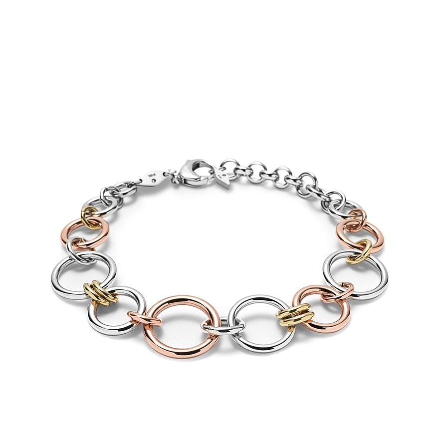 bracelet femme fossil anneaux tricolores jf01821998 pour femme. Black Bedroom Furniture Sets. Home Design Ideas