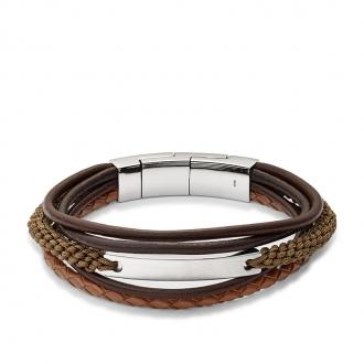 Bracelet Homme Fossil Vintage casual multi-rangs marron JF02703040