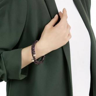 Bracelet jonc Swarovski Crystaldust double multicolore et plaqué or 5379278
