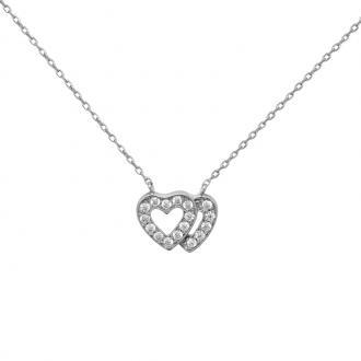 Collier Carador Argent 925/000e double Coeur – zircons
