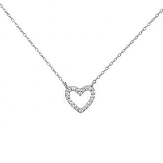 Collier Carador Argent 925/000e Coeur – zircons