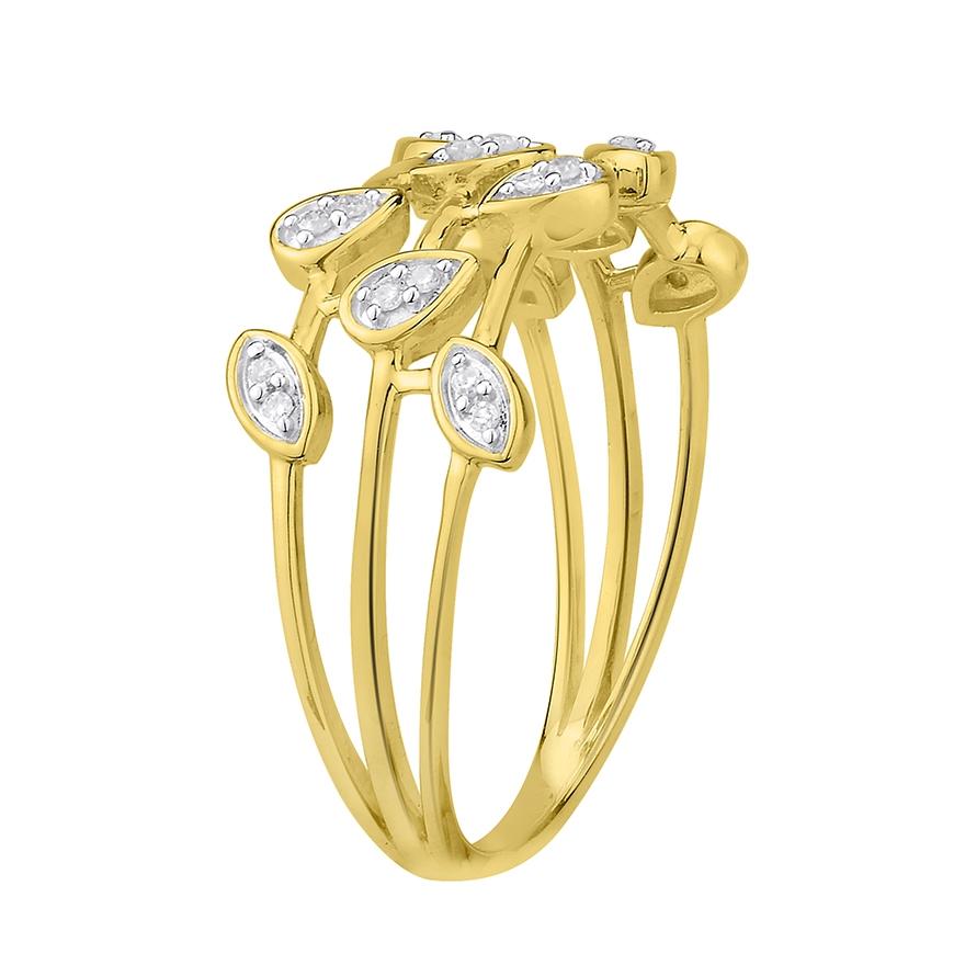 bague femme atelier 17 p tale multirangs or jaune 375 000 et diamants. Black Bedroom Furniture Sets. Home Design Ideas