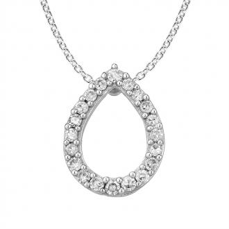 Collier Femme Atelier 17 Pétale or blanc 375/000 et diamants
