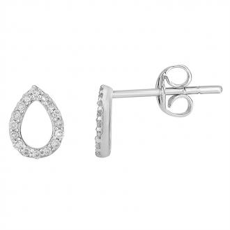 Boucles d'oreilles Atelier 17 Pétale bouton or blanc 375/000 et diamants