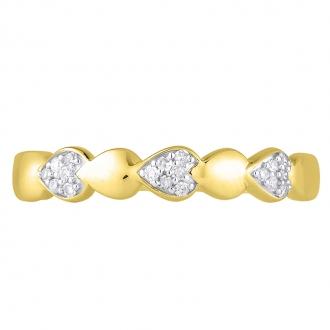 Bague Atelier 17 Pétale bicolore or 375/000 et diamants