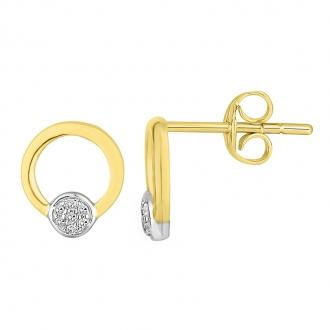 Boucles d'oreilles Atelier 17 Bulle cercle et rond bicolore or 375/000 et diamants