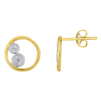 Boucles d'oreilles Ateliers 17 Bulle cercles et double ronds bicolore or 375/000 et diamants