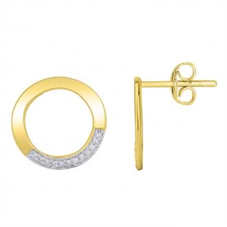 Boucles d'oreilles Atelier 17 Bulle cercle bicolore or 375/000 et diamants