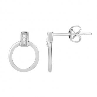 Boucles d'oreilles Atelier 17 Bulle cercle décalé or blanc 375/000 et diamants