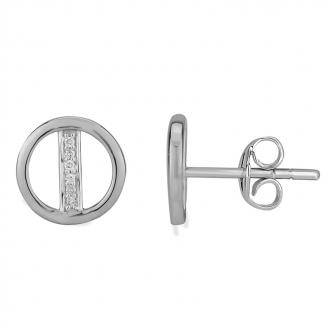 Boucles d'oreilles Atelier 17 Bulle cercle et tige or blanc 375/000 et diamants