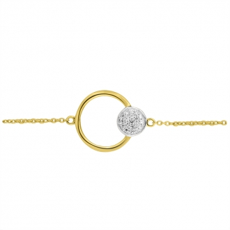 Bracelet Atelier 17 Bulle cercle et rond bicolore or 375/000 et diamants