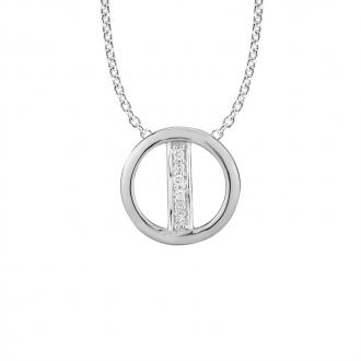 Collier Femme Atelier 17 Bulle cercle et tige or blanc 375/000 et diamants