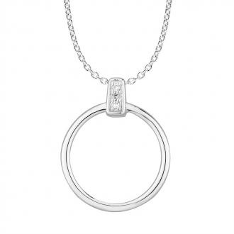 Collier Femme Atelier 17 Bulle cercle décalé or blanc 375/000 et diamants