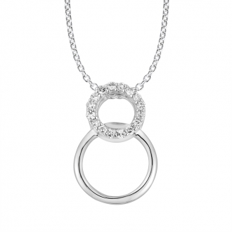 Collier Femme Atelier 17 Bulle cercles enlacés or blanc 375/000 et diamants