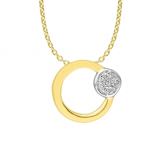 Collier Femme Atelier 17 Bulle cercle et rond bicolore or 375/000 et diamants