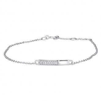 Bracelet femme Atelier 17 Ruban partiellement empierré de diamants en or blanc 375/000