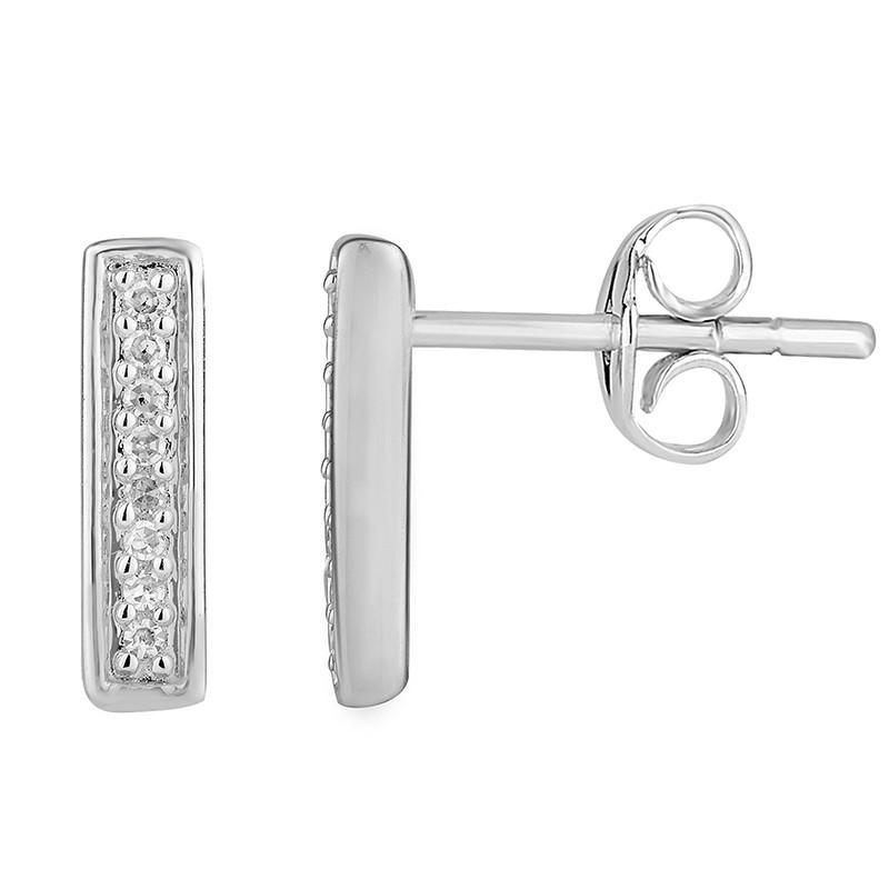 Boucles d'oreilles Femme Atelier 17 Ruban totalement empierré de diamants en or blanc 375/000