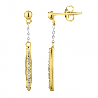 Boucles d'oreilles Femme Atelier 17 Ruban pendantes or jaune 375/000 et diamants