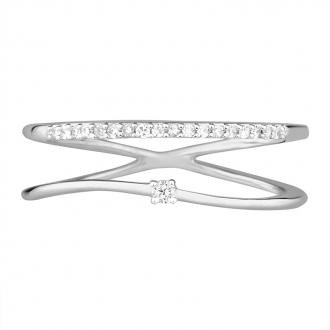 Bague Femme Atelier 17 Pure double anneau or blanc 375/000 et diamants