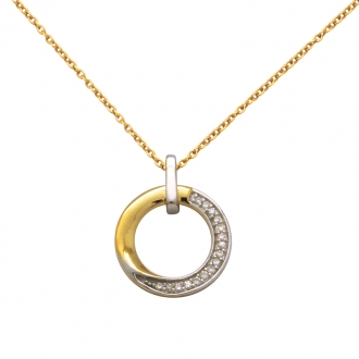 Collier Femme Atelier 17 Bulle cercle décalé bicolore or 375/000 et diamants