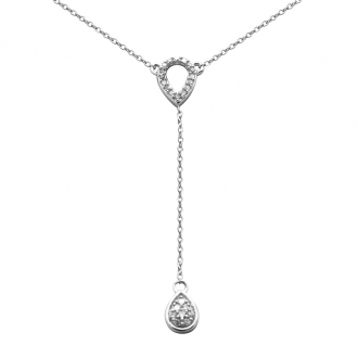 Collier Femme Atelier 17 Pétale double or blanc 375/000 et diamants