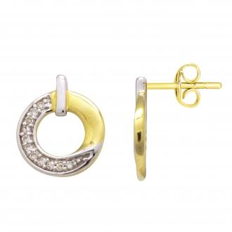 Boucles d'oreilles Atelier 17 Bulle cercle décalé bicolore or 375/000 et diamants