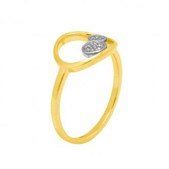 Bague Femme Atelier 17 Bulle cercle et double ronds bicolore or 375/000 et diamants