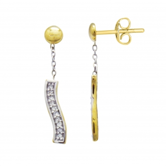 Boucles d'oreilles Atelier 17 Ruban bicolore or 375/000 et diamants 20 mm
