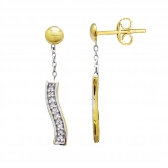Boucles d'oreilles Atelier 17 Ruban bicolore or 375/000 et diamants 20 mm